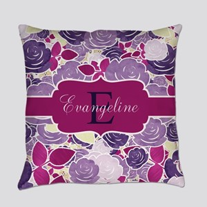 Navy Blue Rose Monogram Everyday Pillow