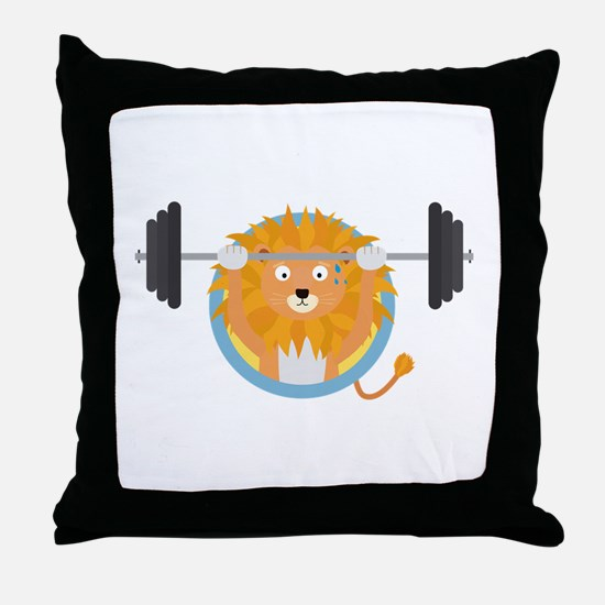 Muscle Lion with weights Throw Pillow