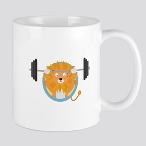 Muscle Lion with weights Mugs