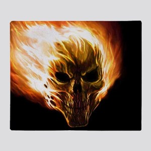 Flaming Skull Throw Blanket