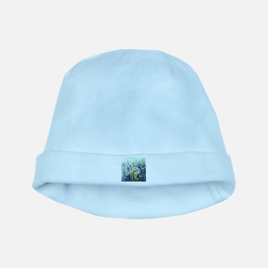 Watercolor painting daisy field baby hat