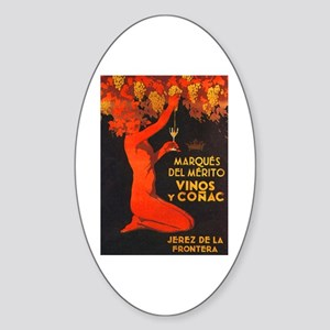Vintage Cognac Wine Poster Oval Sticker