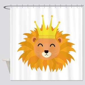 Lion head with crown Shower Curtain