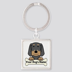Personalized Black & Tan Coonhound Square Keychain