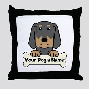 Personalized Black & Tan Coonhound Throw Pillow
