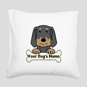 Personalized Black & Tan Coon Square Canvas Pillow