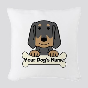 Personalized Black & Tan Coonh Woven Throw Pillow
