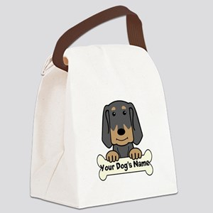 Personalized Black & Tan Coonhoun Canvas Lunch Bag