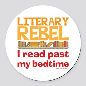 Funny Literary Rebel Reading Round Car Magnet
