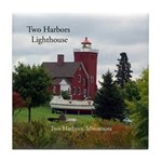 Two Harbors Lighthouse & Boat Tile Coaster