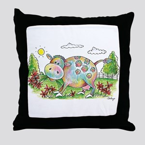 Colorful Cow Smileys Throw Pillow