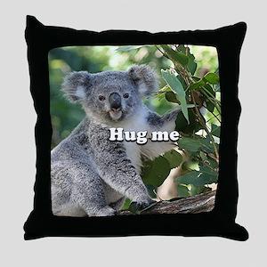 Hug me: cute Australian koala Throw Pillow