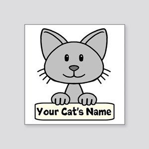 "Personalized Gray Cat Square Sticker 3"" x 3"""