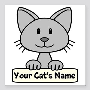 "Personalized Gray Cat Square Car Magnet 3"" x 3"""
