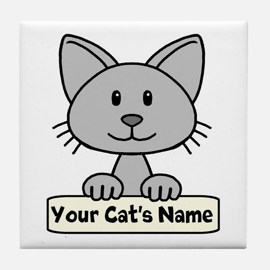 Personalized Gray Cat Tile Coaster