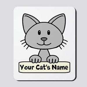 Personalized Gray Cat Mousepad