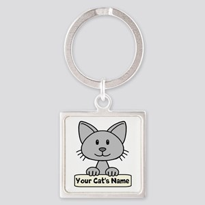 Personalized Gray Cat Square Keychain