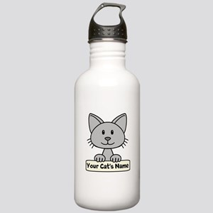 Personalized Gray Cat Stainless Water Bottle 1.0L