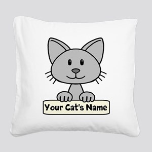 Personalized Gray Cat Square Canvas Pillow