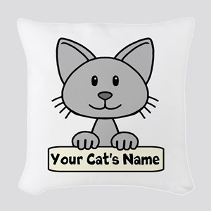Personalized Gray Cat Woven Throw Pillow