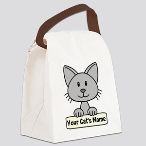 Personalized Gray Cat Canvas Lunch Bag