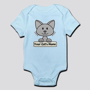 Personalized Gray Cat Infant Bodysuit