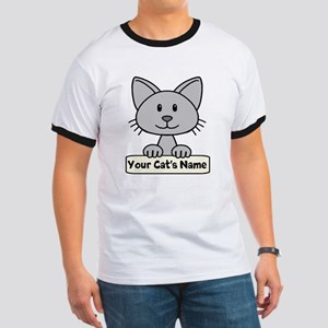 Personalized Gray Cat Ringer T
