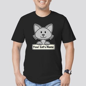 Personalized Gray Cat Men's Fitted T-Shirt (dark)
