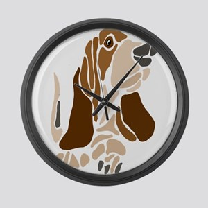 Funny Basset Hound Dog Large Wall Clock