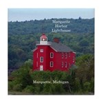 Marquette Harbor Lighthouse Water Tile Coaster