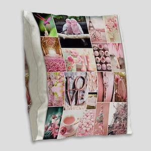 Love of Pink Burlap Throw Pillow