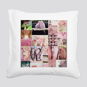 Love of Pink Square Canvas Pillow
