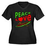 Peace Love Canoe Women's Plus Size V-Neck Dark T-S