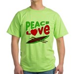 Peace Love Canoe Green T-Shirt