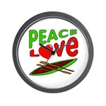 Peace Love Canoe Wall Clock