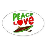 Peace Love Canoe Oval Sticker