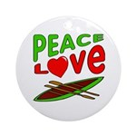 Peace Love Canoe Ornament (Round)
