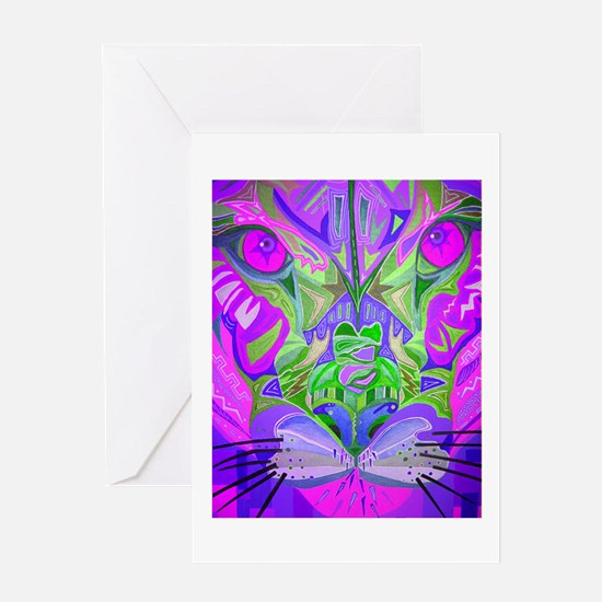 Abstract Cougar in Pink Greeting Cards