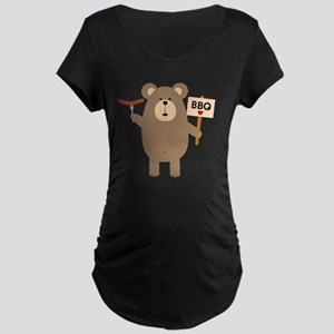 BBQ Brown Bear with Sausage Maternity T-Shirt