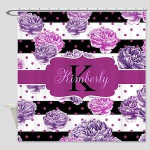 Purple Flower Stripes Monogram Shower Curtain