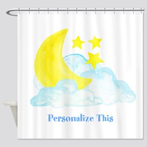 Personalized Moon And Stars Shower Curtain