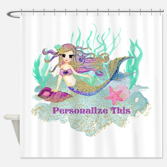 Cute Personalized Mermaid Shower Curtain