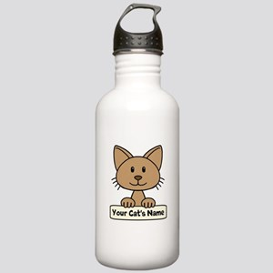 Personalized Brown Cat Stainless Water Bottle 1.0L