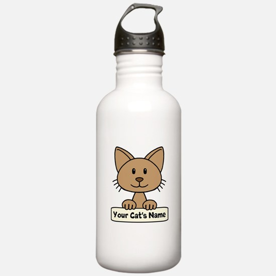 Personalized Brown Cat Water Bottle
