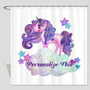 Watercolor Unicorn Monogram Shower Curtain