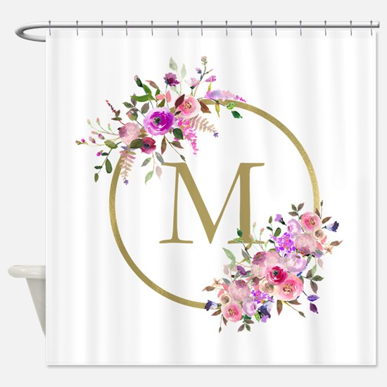 Floral And Gold Monogram Shower Curtain