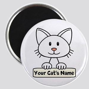 Personalized White Cat Magnet