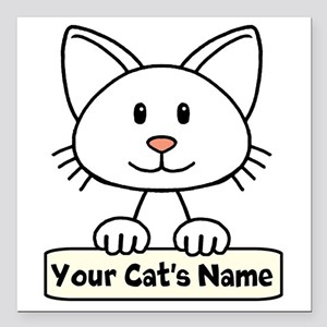 "Personalized White Cat Square Car Magnet 3"" x 3"""