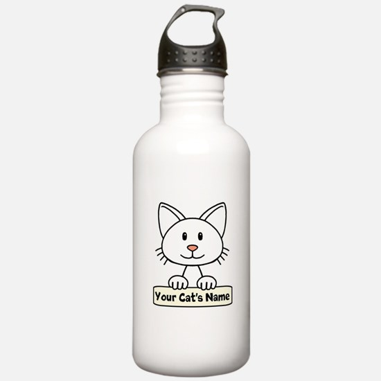 Personalized White Cat Water Bottle