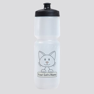 Personalized White Cat Sports Bottle